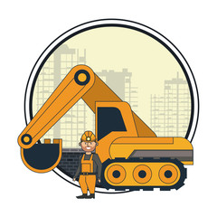 Mining worker with backhoe