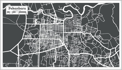 Pekanbaru Indonesia City Map in Retro Style. Outline Map.