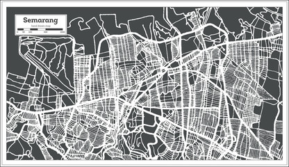 Semarang  Indonesia City Map in Retro Style. Outline Map.