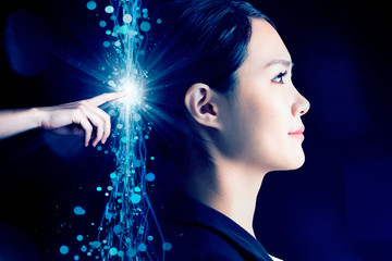 business woman with AI (Artificial Intelligence) concept