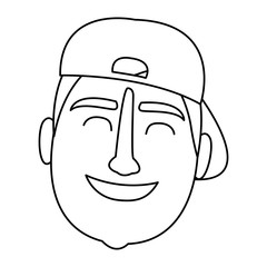 Man face with hat black and white