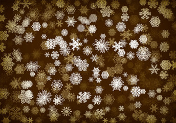Christmas background or card with handdrawn snowflakes falling for invitation or xmas holiday greetings