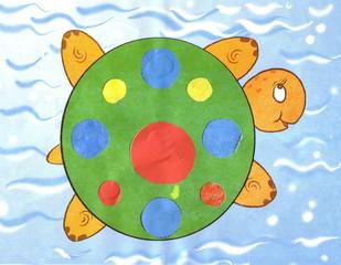 children applique colorful turtle