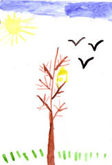 children drawing tree and birds white background