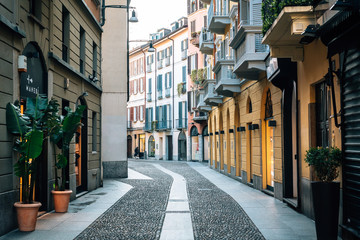 Poster Milan A colorful cobblestone street in Brera, Milan, Italy.