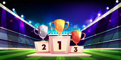 Victory in sports competition cartoon vector concept with golden, silver and bronze cup trophies standing on pedestal in center of football stadium illustration. Championship prize. Triumph in sports