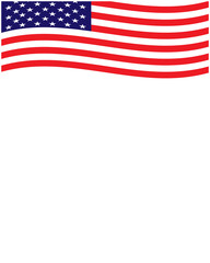 USA flowing flag frame with empty space for your text.