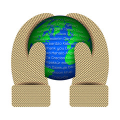 International Thank You Day. Hands in knitted mittens hold a planet Earth. The word Thank you in different languages.