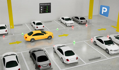 Smart Parking lot Guidance System with In-Ground Indicators, Intelligent sensors assist control/monitor, Efficient management, 3D Rendering