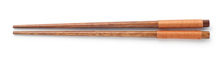 Top view of wooden chopsticks on white background
