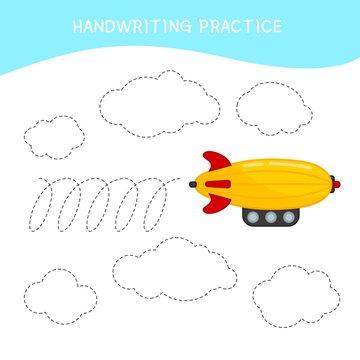 Handwriting practice sheet. Basic writing. Educational game for children. Cartoon aircraft.