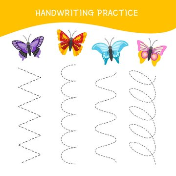 Handwriting practice sheet. Basic writing. Educational game for children. Cartoon butterfly.