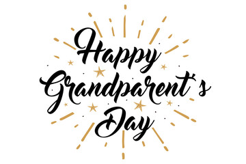 The Best Grandpa, Happy Grandparent's Day banner. Card calligraphy lettering golden stars fireworks on White Background. Vector