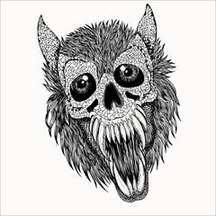 Wall Murals Owls cartoon Skull Vector