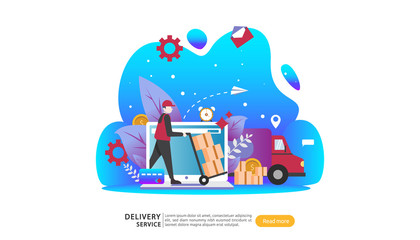 Online Delivery service. order express tracking concept with tiny character and cargo box truck. template for web landing page, banner, presentation, social media and print media. Vector illustration.