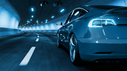 Modern Electric car rides through tunnel with cold blue light style