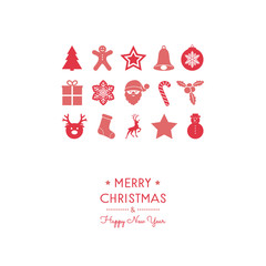 Merry Christmas and Happy New Year - card with decorations. Vector.