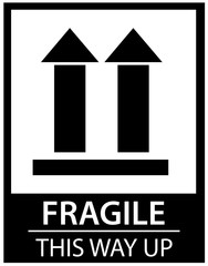 Sticker: fragile - handle with care - this way up - donot step