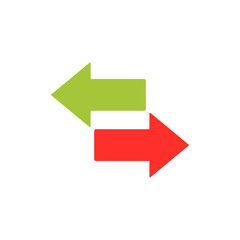 left, right arrow, switch button icon vector