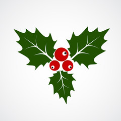 Flat Icon of Christmas Holly Berry. Vector illustration