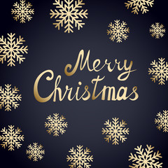 Merry Christmas vector card with gold text on black background with golden snowflakes