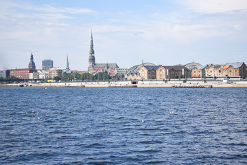 Riga, view of the old city from the water