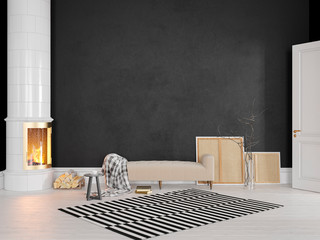 Black scandinavian, classic interior with couch, stove, fireplace, carpet. 3d render illustration mock up. Wall mural
