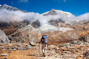 Nepal hiker Langtang Lirung