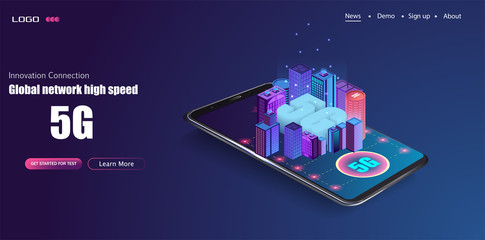 5G new wireless internet wifi connection. Smart city or intelligent building isometric vector concept. Building automation with computer networking illustration