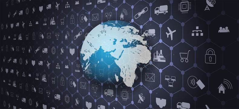 Global world telecommunication network connected around planet Earth.Internet of things (IoT) and networking concept for connected devices