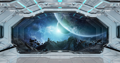 Fototapete - White clean spaceship interior with view on planet Earth 3D rendering