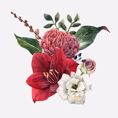 Fototapete - Watercolor flowers vector illustration