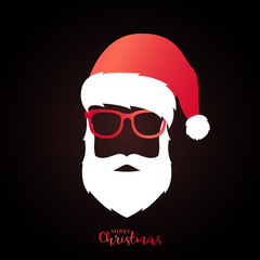 Santa Claus with red hat and glasses on black background. Christmas illustration.