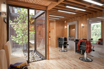 Hair Salon Designed in Wood