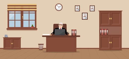An elderly businessman sitting in the workplace in a spacious office on a cream background. Vector illustration.Table, wardrobe, diplomas. Wooden floor. Perfect for advertising