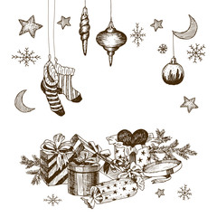 Set of christmas toys for children. Socks for candy. Gifts with ribbons and heart. Hand drawn moon and stars, snowflakes. Vintage vector illustration isolated on white background