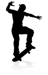 Very high quality and highly detailed skating skateboarder silhouette