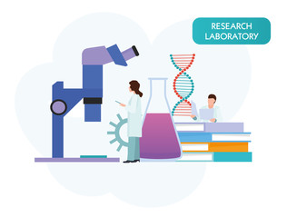 vector people scientists research in laboratory process. Vector flat cartoon illustration
