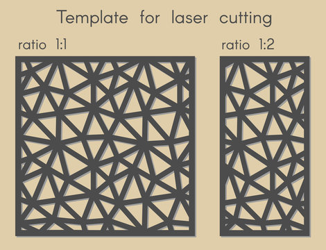 Template for laser cutting. Stencil for panels of wood, metal. Abstract geometric triangular background for cut. Vector illustration. Decorative cards. Ratio 1:1, 1:2.