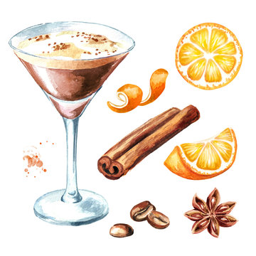 Espresso martini cocktail with coffe grains and spices set. Watercolor hand drawn illustration, isolated on white background