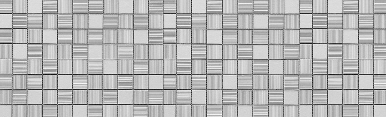Panorama of White modern stone tile wall pattern and background