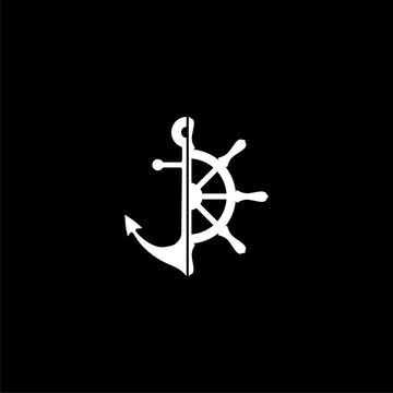 Nautical logo or icon on dark background
