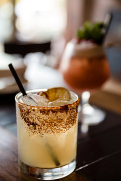 Spicy Margarita Rimmed with Chipotle Black Lava Salt