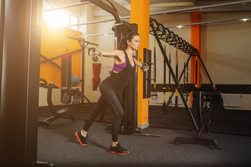Concept of healthy lifestyle. Muscular fitness woman doing exercises.