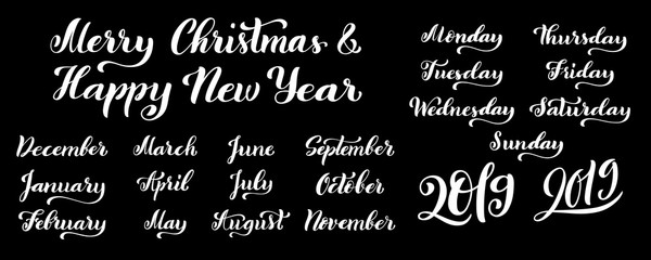 Calligraphic set of months of the year 2019 and days of week.