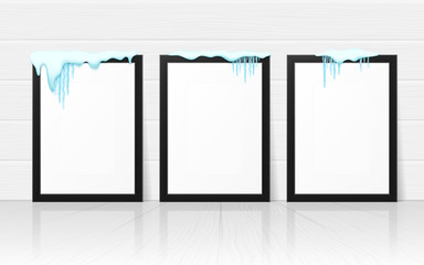 Set of frames with realistic snow and icicles. Beautiful winter template for merry christmas. Vector illustration.