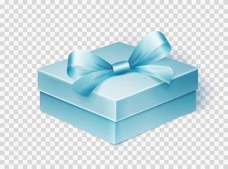 Realistic blue gift box with ribbon. Design template for Holiday Christmas present. Vector illustration.