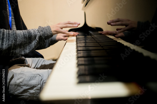 Man hands playing piano  Classical music  Art and abstract