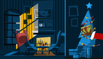 santa Claus hand in living room vector illustration