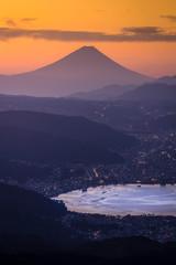 Aerial Mount Fuji with Suwako Lake sunrise Takabochi